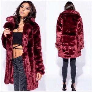 NWT - Parisian Faux Fur Merlot Coat